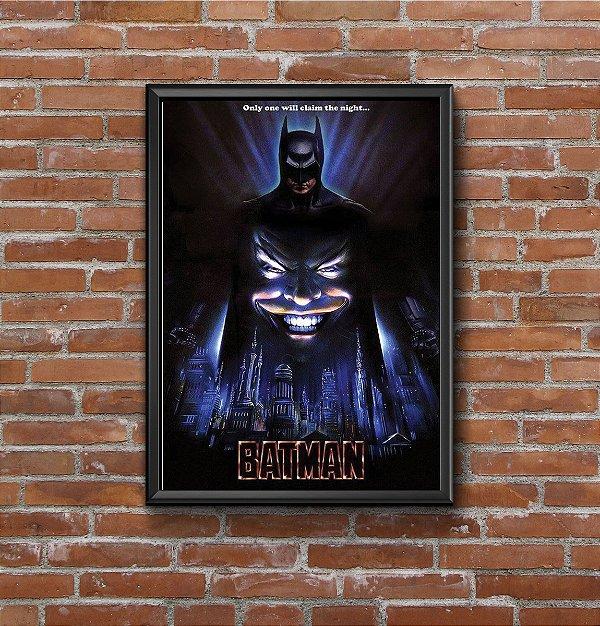 Quadro Placa Decorativo Super-Herói Batman DC Comics Preto & Azul