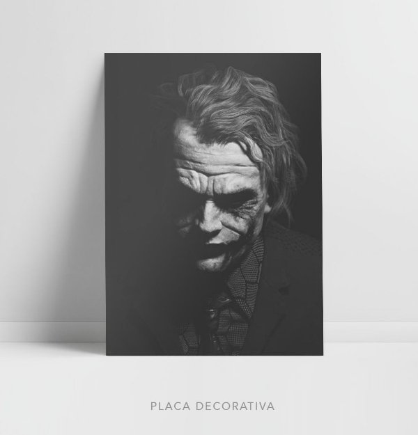 Quadro Placa Decorativo Coringa Filme Batman - The Dark Knight Preto & Branco