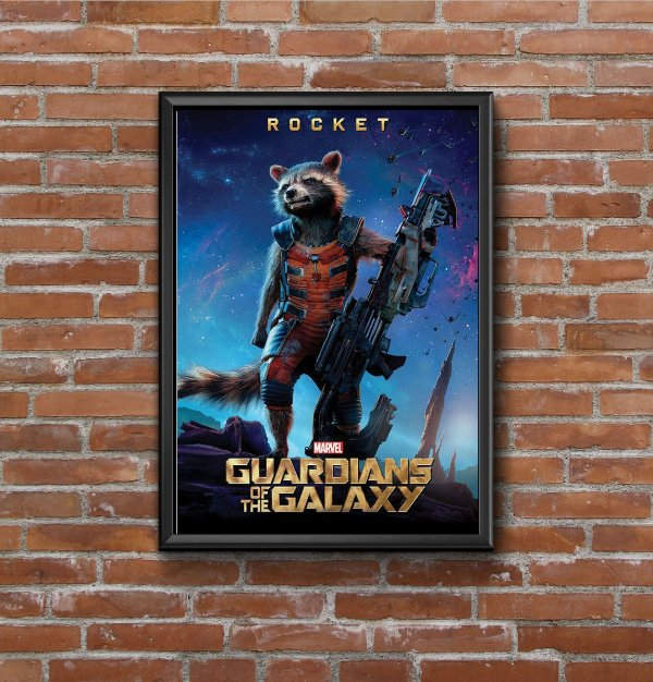 Quadro Placa Decorativo Filme Guardiões Da Galáxia Rocket Azul & Dourado
