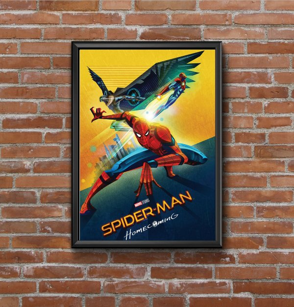 Quadro Placa Decorativo Filme Homem-Aranha Homecoming Vermelho & Amarelo