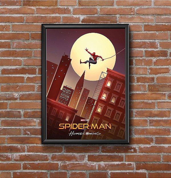 Quadro Placa Decorativo Filme Homem-Aranha Homecoming Vermelho & Azul