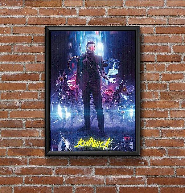 Quadro Placa Decorativo Filme John Wick Azul & Preto