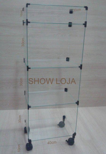 Balcão de vidro com rodízios 30 x 40 x 110cm