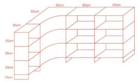 Balcão Vidro Modulado L 90 x 180