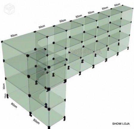 Balcão Vidro Modulado L 1.10 x 3.60