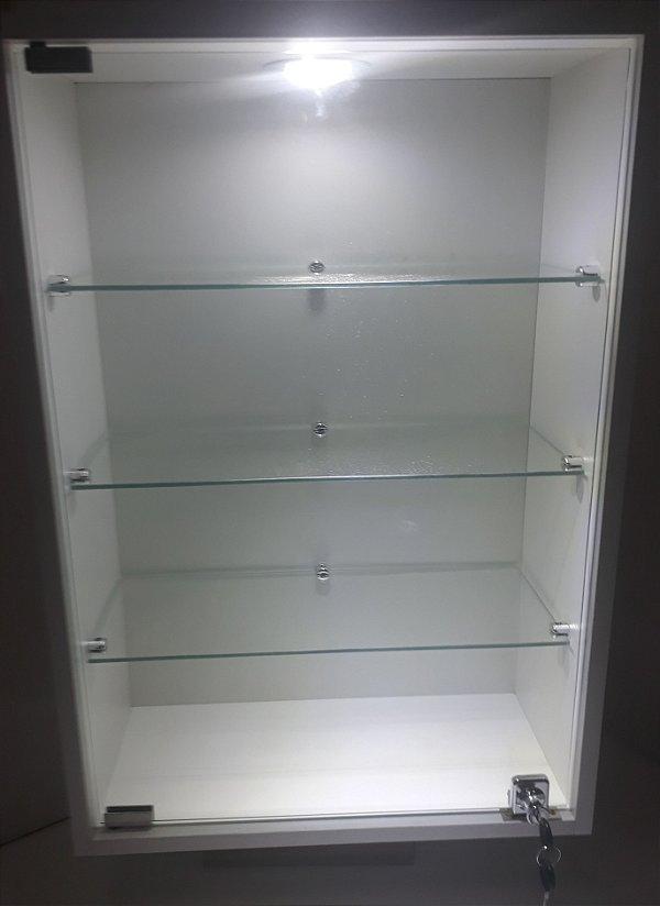 Vitrine MDF com Vidro e Led - 20 x 44 x 67cm Parede ou Balcão.