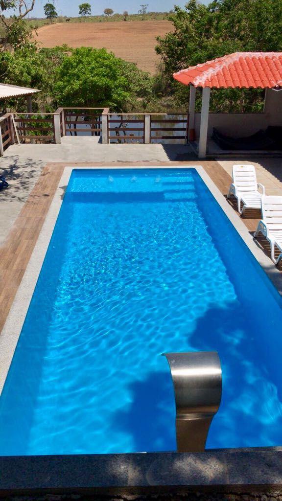 Piscina de Fibra Oceano Azul - 8,50m x 3,80m x 1,40m - 38.000 litros - Diazul Piscinas