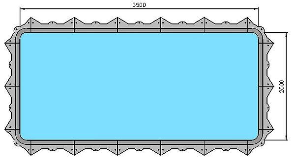 Piscina Hybrida - Modelo 160006 - Retangular Simples sem banco - 5,50 m x 2,50 m x 1,40 m - Fluidra
