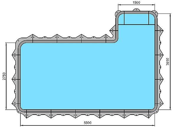 Piscina Hybrida - Modelo 160008 - Retangular com banco - 5,50 m x 2,75 m x 1,40 m - Fluidra