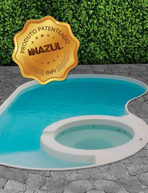 Piscina de Fibra Paraíso Branca - 7,44 m x 4,20 m x 1,40 m - 36.000 litros - Diazul Piscinas