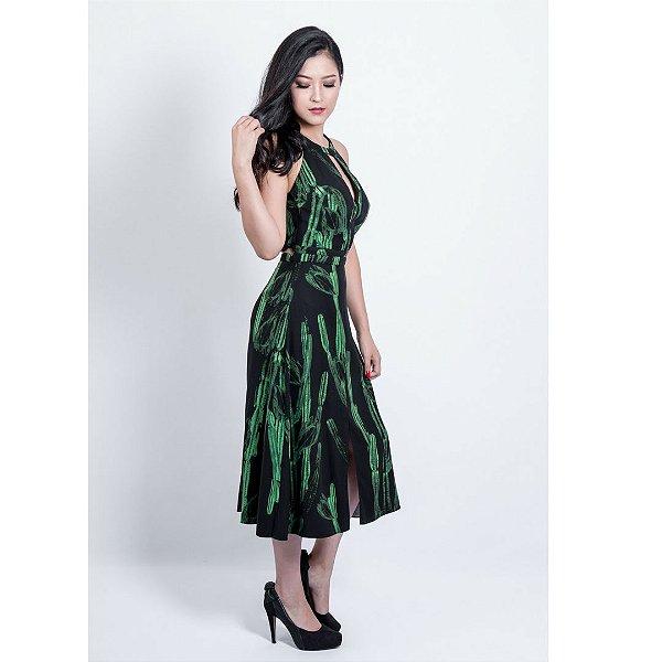 03c9925b5 Vestido Morena Rosa Fendas Estampa Mandacaru - Sua loja de moda ...