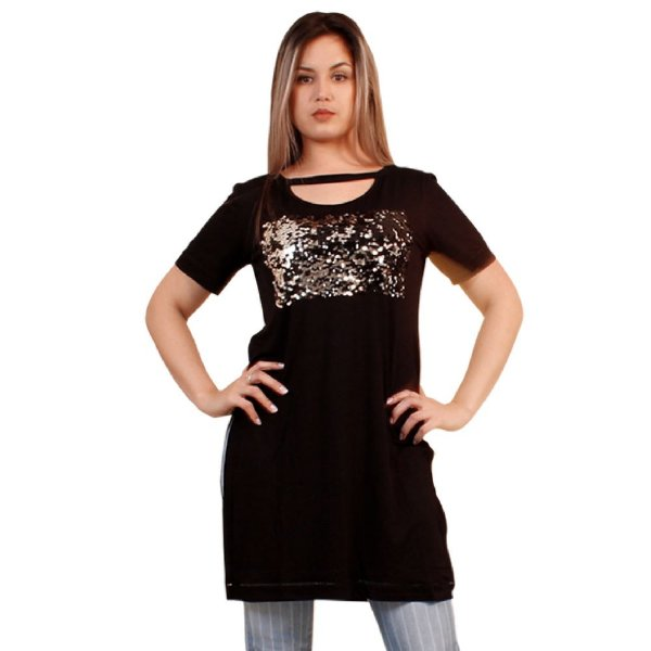 T-Shirt Maria Valentina Malha Detalhe Paete