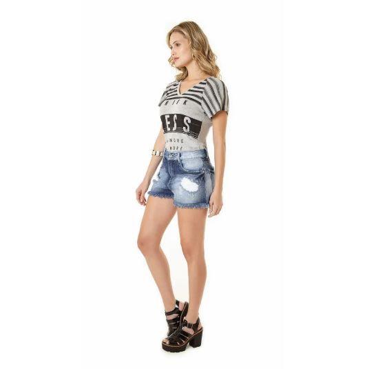 Shorts Zinco Jeans Mix Tecidos