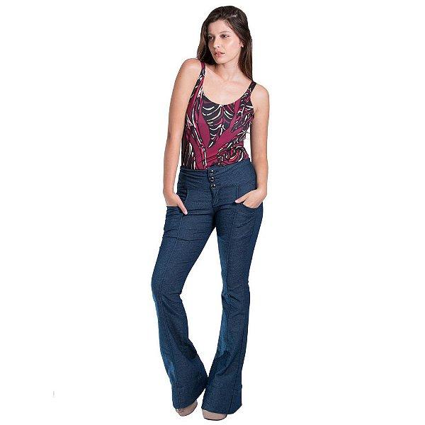 42f25118f361f6 Calça Jeans Morena Rosa Carol Cós Intermediário Recorte