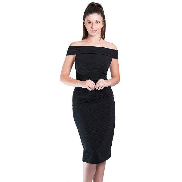 7def79247 Vestido Morena Rosa Midi Ombro A Ombro Detalhe Decote - Sua loja de ...