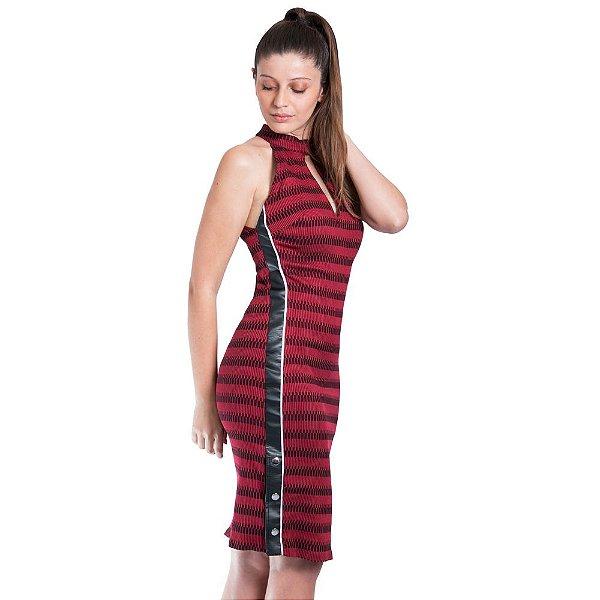 Vestido Morena Rosa Midi Cava Francesa Botão