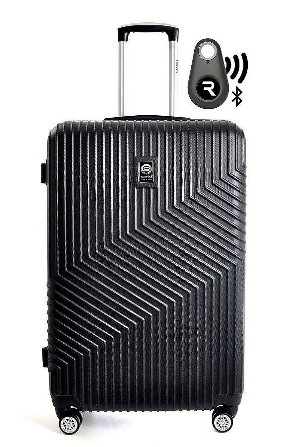 Kit com Mala de Bordo Geometric e Localizador Bluetooth Reaggio - com Rodas 360º  - Santino - ASAV7003P01 - Preta