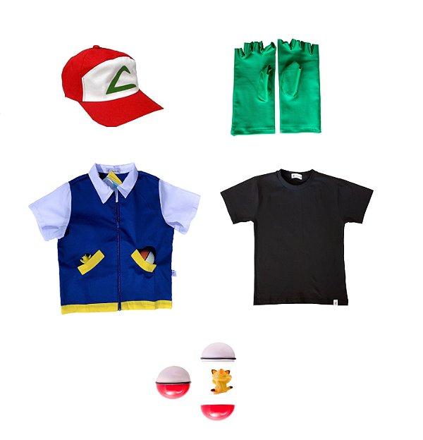Conjunto Ash, Treinador de Pokemon - camisa azul, camiseta preta, boné, luvas e pokebola