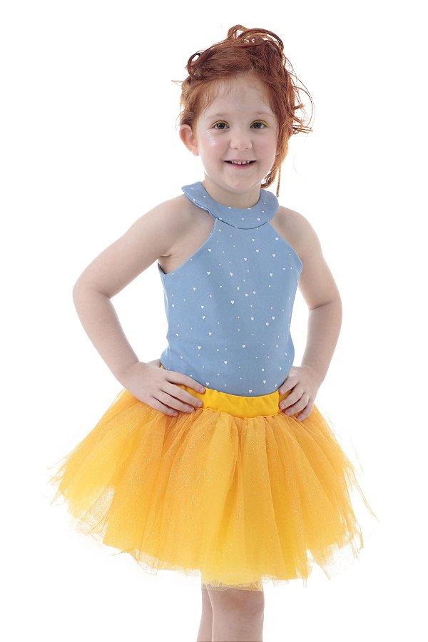 Saia de tutu amarela com brilho - Quimera Kids