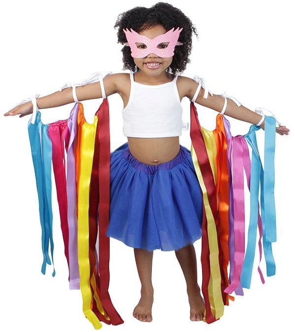 Look de fitas com saia de tutu azul royal - Carnaval - Quimera Kids