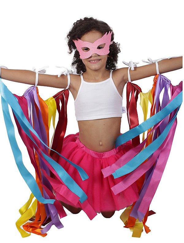 Look de fitas com saia de tutu pink - Carnaval - Quimera Kids