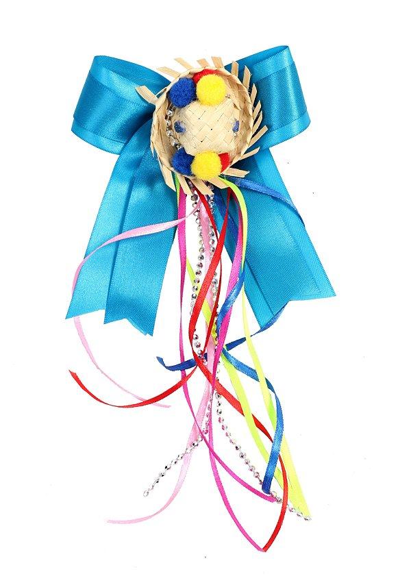 Laço junino ESPANTALHO: azul com chapéu de palha e tic tac - Festa Junina