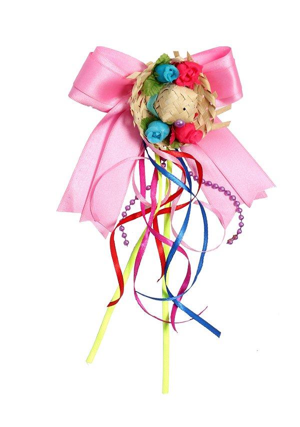 Laço junino ARROZ DOCE: rosa com chapéu de palha e tic tac  - Festa Junina