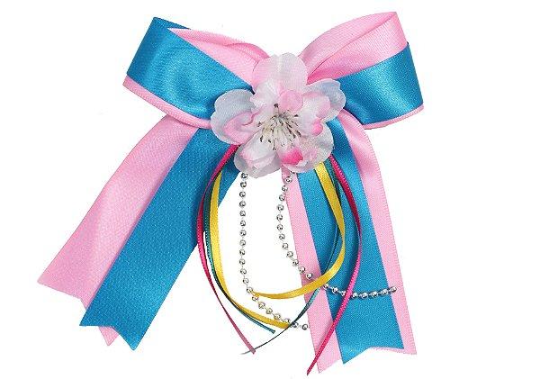 Laço junino FORRÓ: azul e rosa bebê com xuxinha - Festa Junina