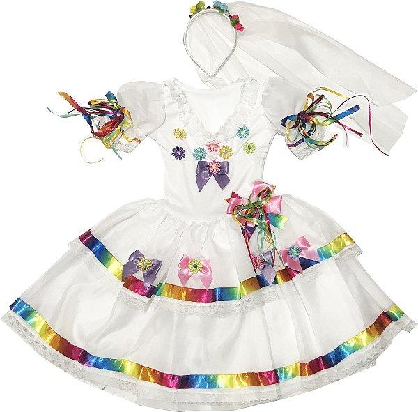 Vestido de Noivinha Caipira com Flores - Festa Junina - QUIMERA KIDS