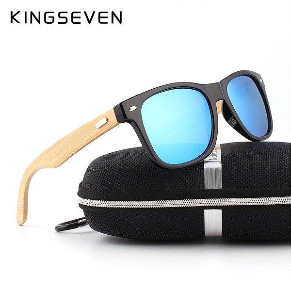 ca39a8b42497b óculos de sol kingseven bambu lentes polarizadas - shopline barbosa