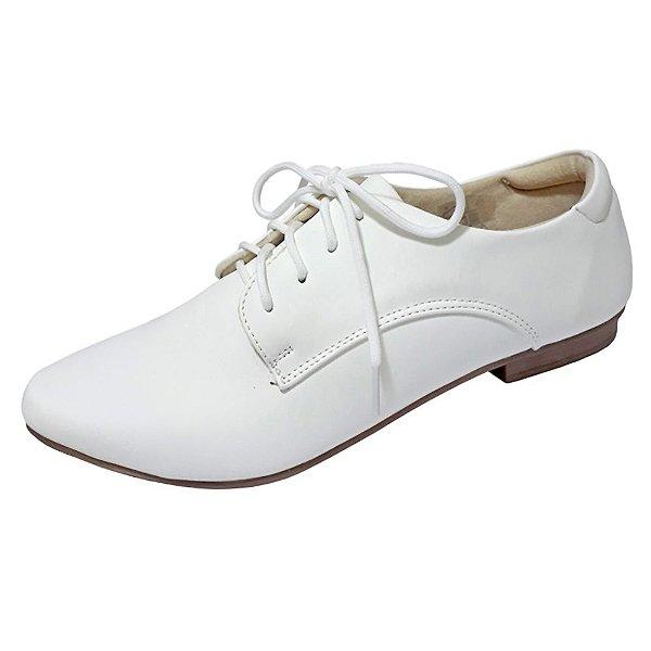 Sapato feminino branco oxford de amarrar com cadarço macio e confortavel