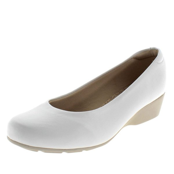 Sapato sapatilha anabela branco feminino enfermagem palmilha ultra conforto