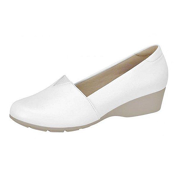 Sapato feminino branco fechado salto anabela palmilha ultra conforto enfermagem | enfermeira