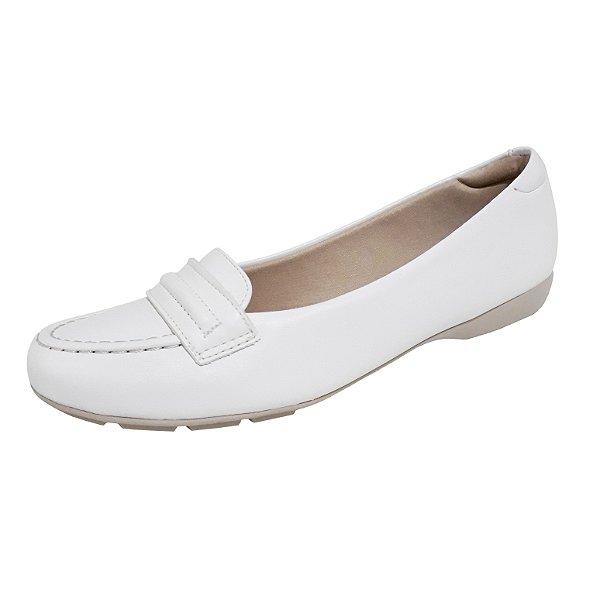 Sapato branco feminino mocassim enfermagem palmilha ultra conforto