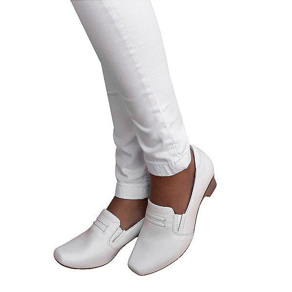 Sapato Branco Feminino Enfermagem Neftali Clinic Comfort Couro NR32 4088