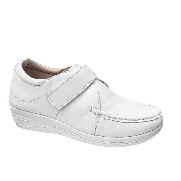 Sapato Sapatenis Feminino Branco Couro Linha Confort Sola Alta