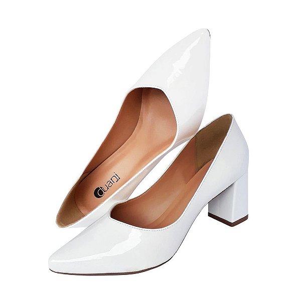 Sapato Scarpin Branco Verniz Salto Bloco