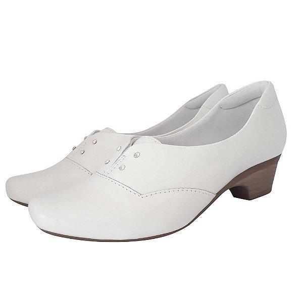 Sapato Branco Feminino Couro Neftali Comfort