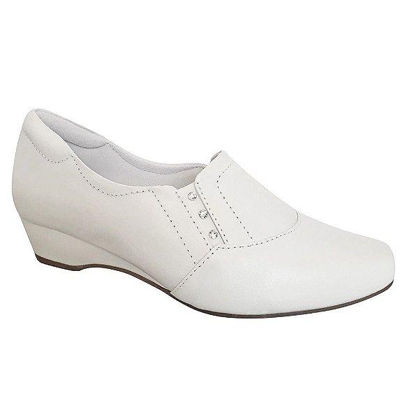 Sapato Branco Neftali Couro Saltinho Baixo