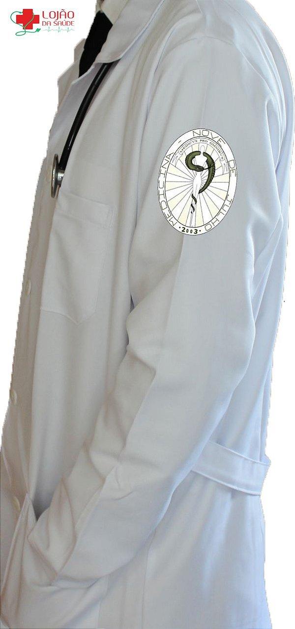 JALECO BRANCO de Tecido GABARDINE Masculino de manga longa Com logo MEDICINA UNINOVE bordado - Lojão da Saúde