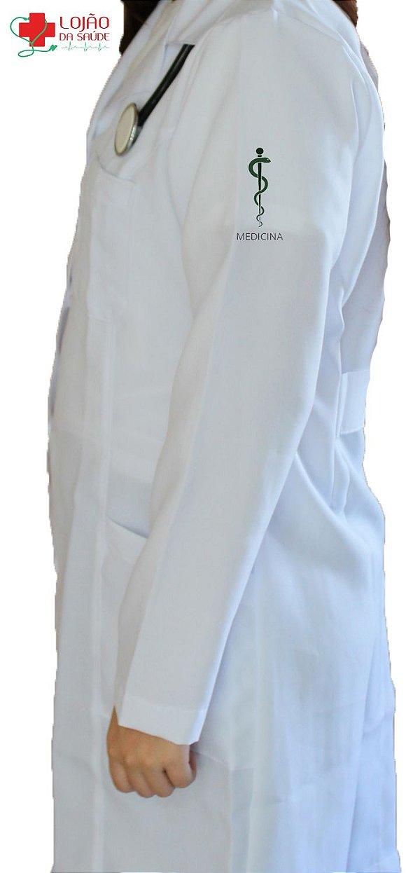 JALECO BRANCO de Tecido GABARDINE Feminino de manga longa Com logo MEDICINA bordado - Lojão da Saúde