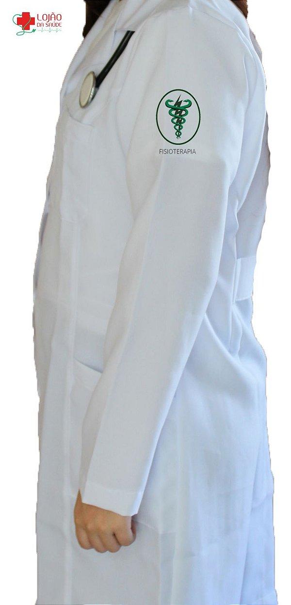 JALECO BRANCO de Tecido GABARDINE Feminino de manga longa Com logo FISIOTERAPIA bordado - Lojão da Saúde