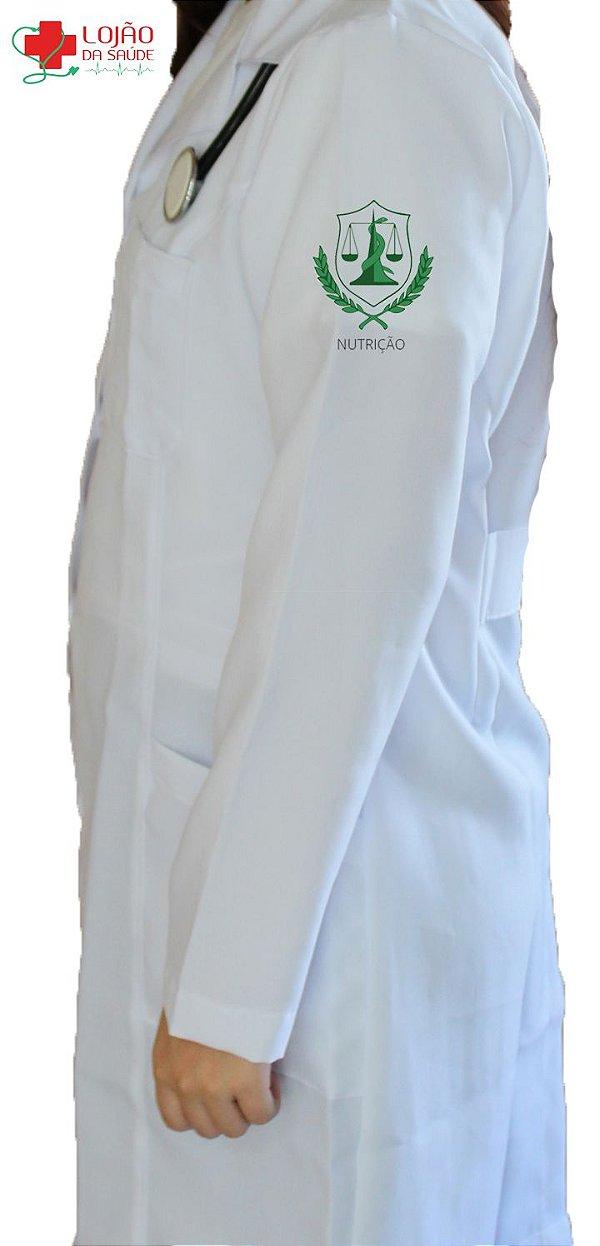 JALECO BRANCO de Tecido GABARDINE Feminino de manga longa Com logo NUTRIÇÃO bordado - Lojão da Saúde