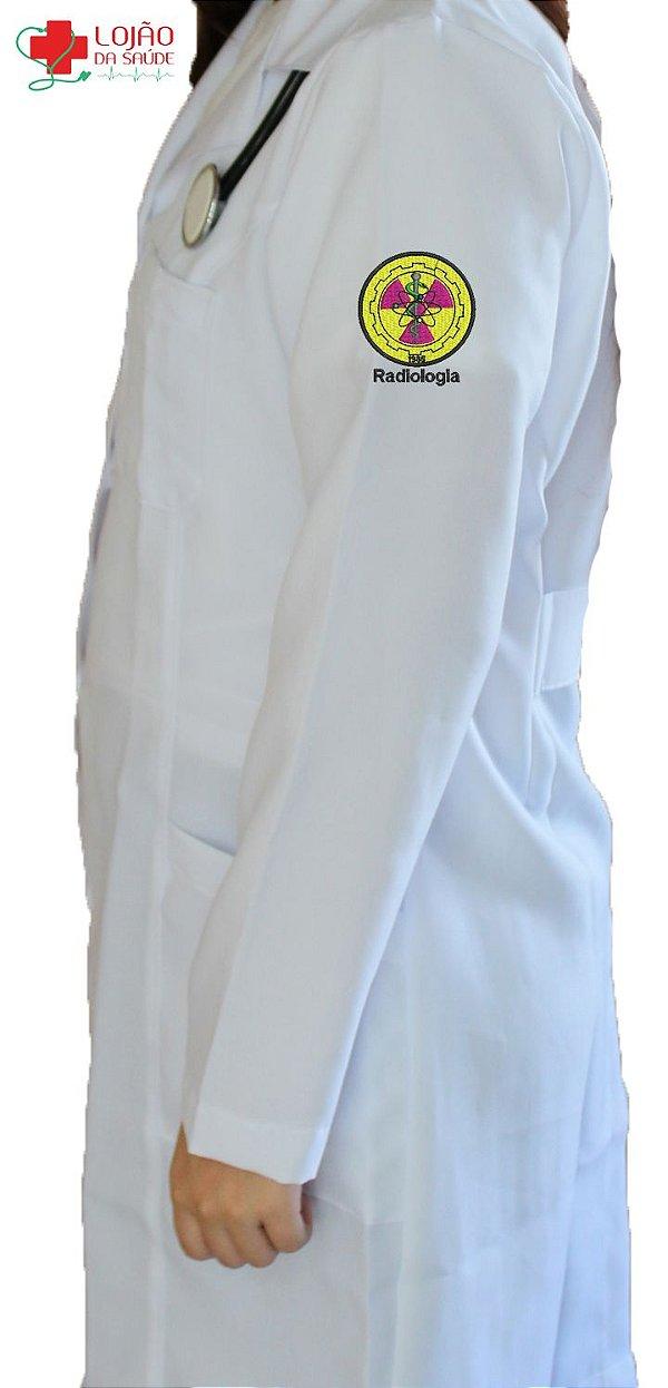 JALECO BRANCO de Tecido GABARDINE Feminino de manga longa Com logo RADIOLOGIA bordado - Lojão da Saúde
