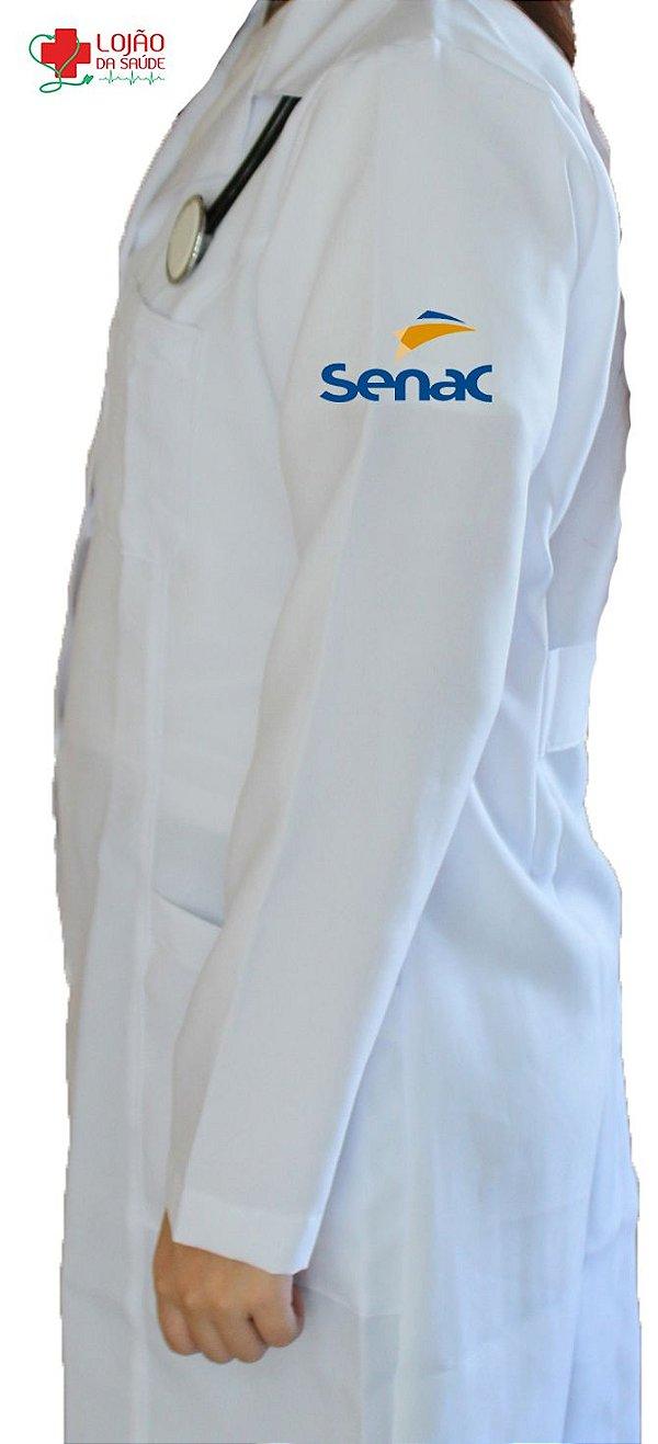 Jaleco Branco De Tecido GABARDINE Feminino De Manga Longa Com Logo SENAC Bordado - Lojão Da Saúde