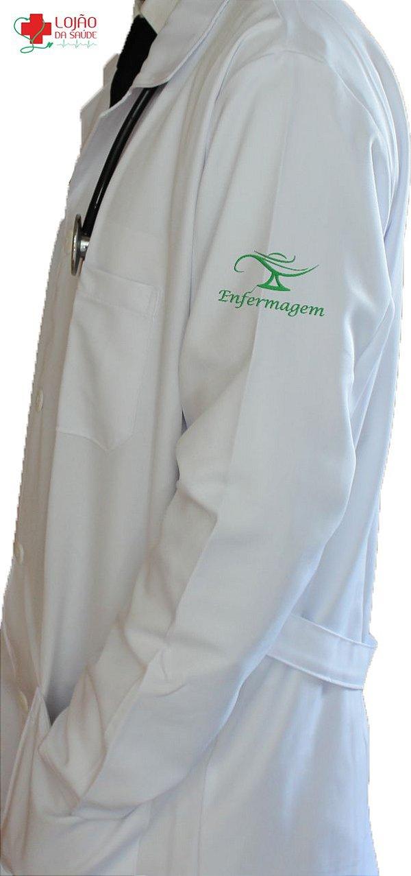JALECO BRANCO de Tecido GABARDINE Masculino de manga longa Com logo ENFERMAGEM bordado - Lojão da Saúde