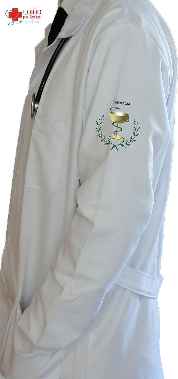 JALECO BRANCO de Tecido GABARDINE Masculino de manga longa Com logo FARMÁCIA bordado - Lojão da Saúde