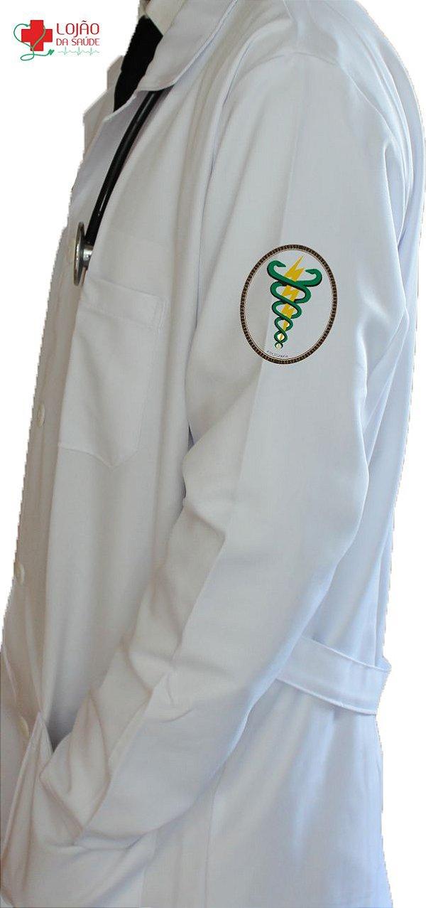 JALECO BRANCO de Tecido GABARDINE Masculino de manga longa Com logo FISIOTERAPIA bordado - Lojão da Saúde