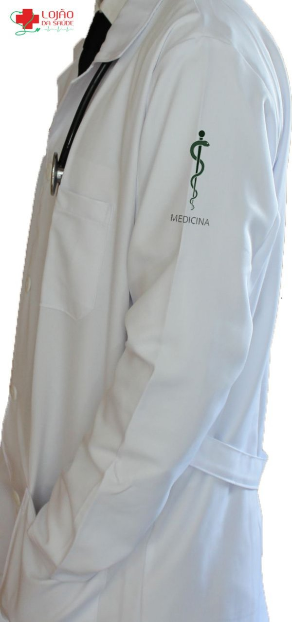 JALECO BRANCO de Tecido GABARDINE Masculino de manga longa Com logo MEDICINA bordado - Lojão da Saúde