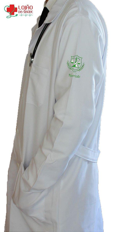 JALECO BRANCO de Tecido GABARDINE Masculino de manga longa Com logo NUTRIÇÃO bordado - Lojão da Saúde